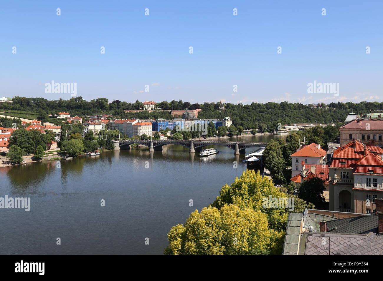 View of Vltava river from Old Town Bridge Tower, Prague, Czechia (Czech Republic), Europe - Stock Image