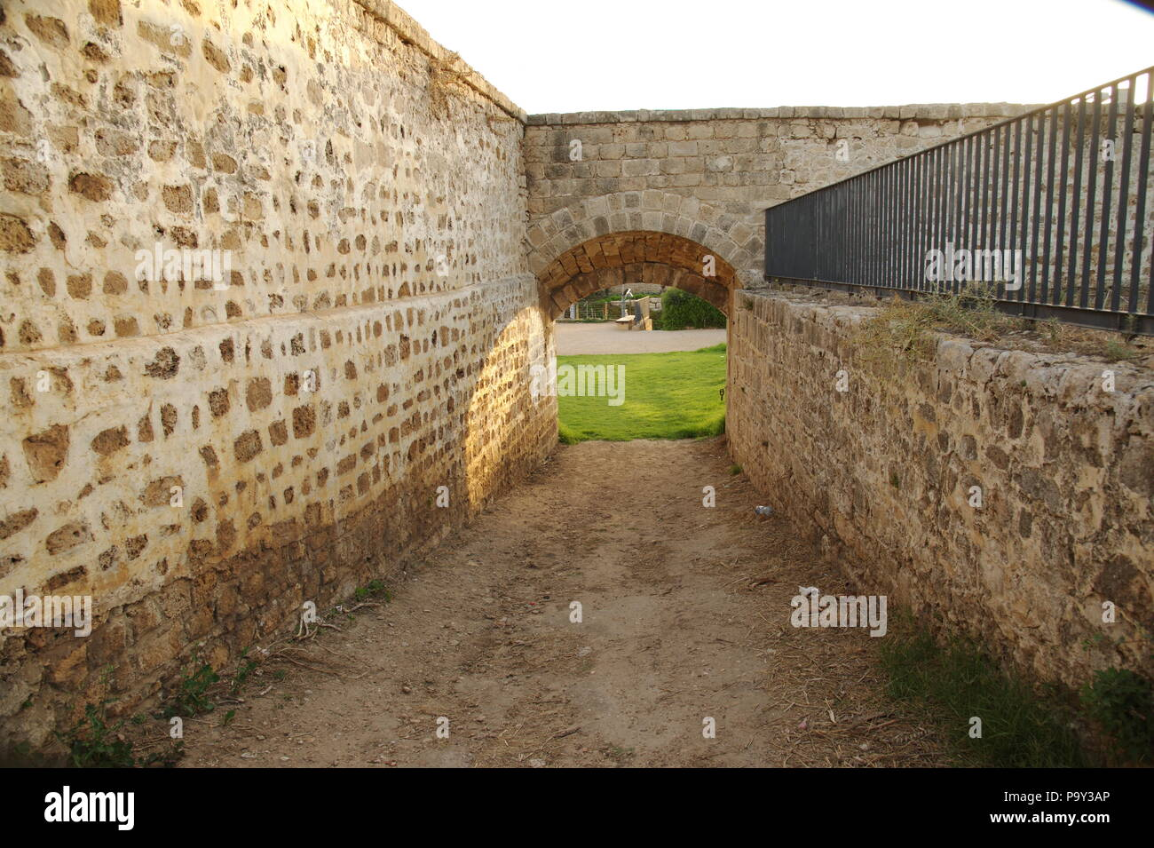 view of historic walls in ancient Acre (Akko), Israel - Stock Image