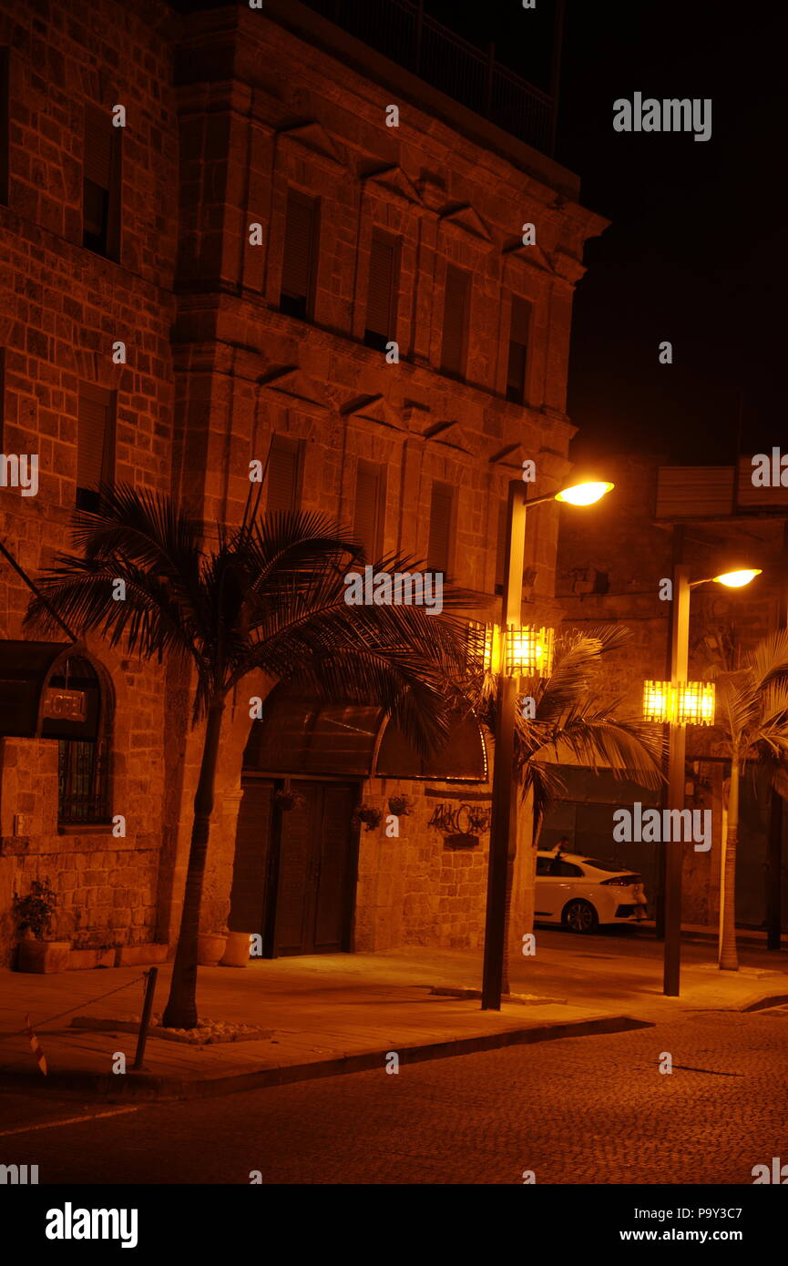 view of old street in Akko, at night, israel - Stock Image