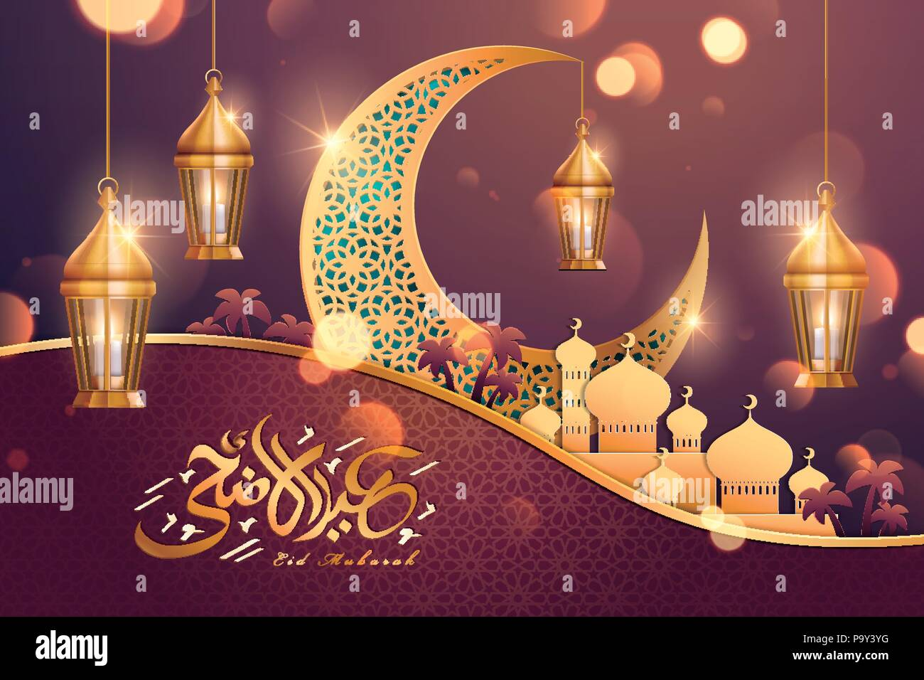 Eid Al Adha Greeting Card With Golden Crescent And Mosque On