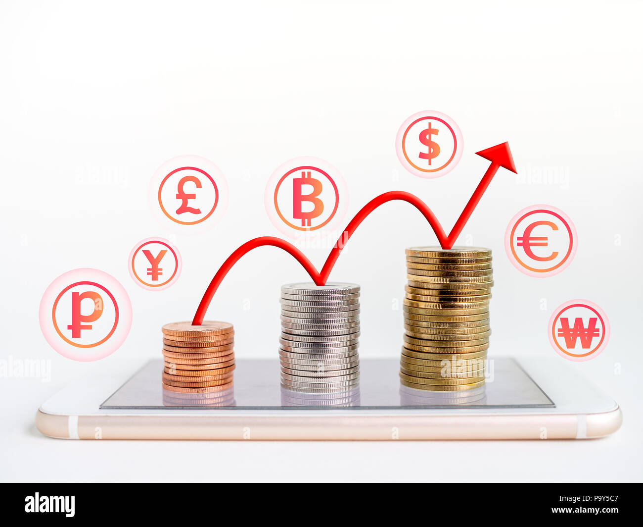 Making money online. Business financial online concept. money, stack of colourful coins on mobile phone with red rising up arrow graph on coins and cu - Stock Image