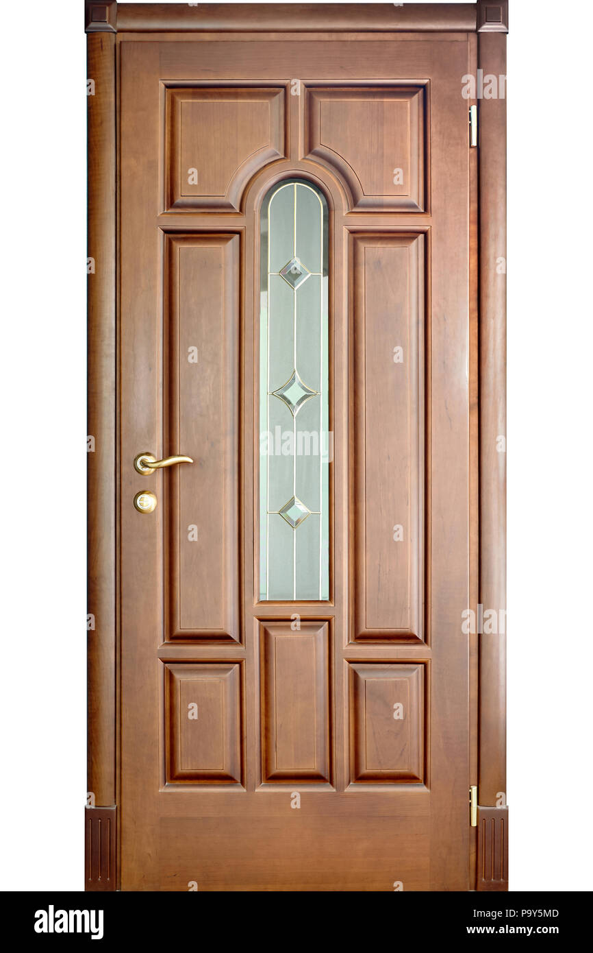 Wooden Interior Door Of Cherry Wood With Brass Handle And Insets Of Frosted  And Mirror Glass With Geometric Ornament Isolated On White Background