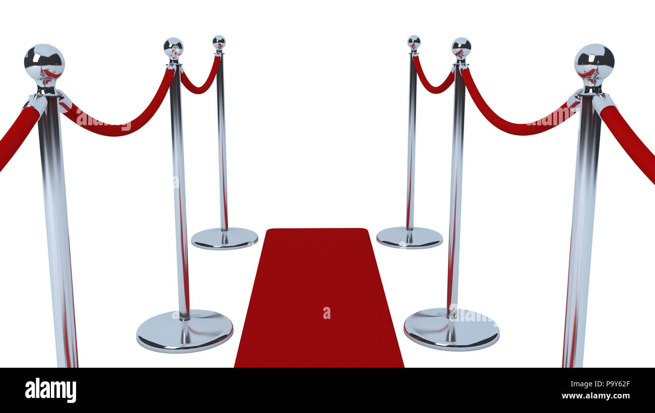 VIP Celebrity red carpet queue event on white background - Stock Image