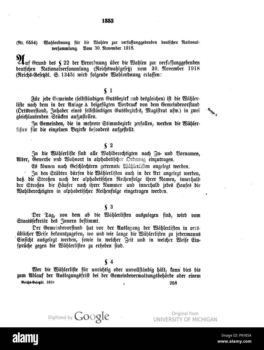 484 Deutsches Reichsgesetzblatt 1918 167 1353 Stock Photo