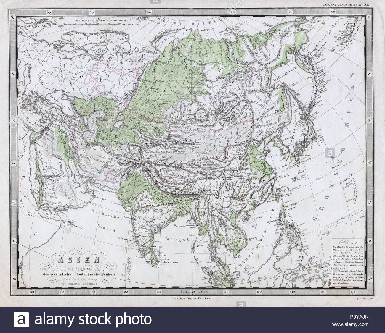 Map Of Just Asia.1862 Perthes Physical Map Of Asia Stock Photo 212657389 Alamy