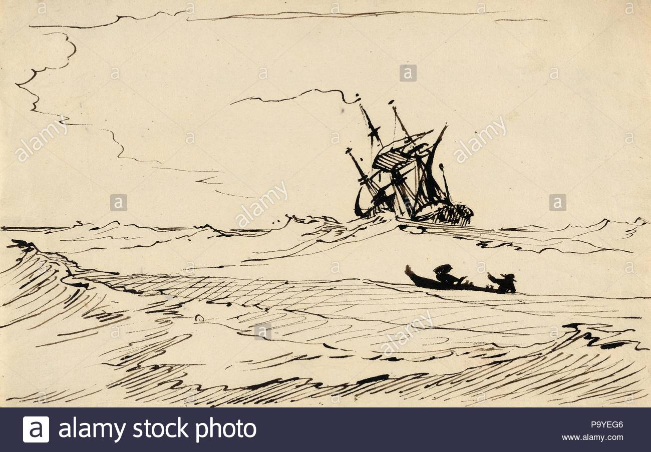 Drawings and Prints, Drawing, A Storm at Sea with a Large Ship and a Small Boat with Two Figures, Artist, Carl August Ehrensvärd, Swedish, 1745–1800, Ehrensvärd, Carl August, Swedish, 1745, 1800, 1765–1800, 1765, 1800. - Stock Image