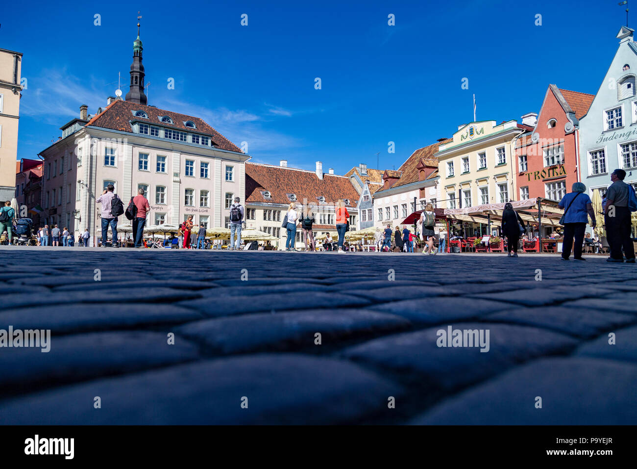 Twon Hall square in Tallin, Estonia - Stock Image