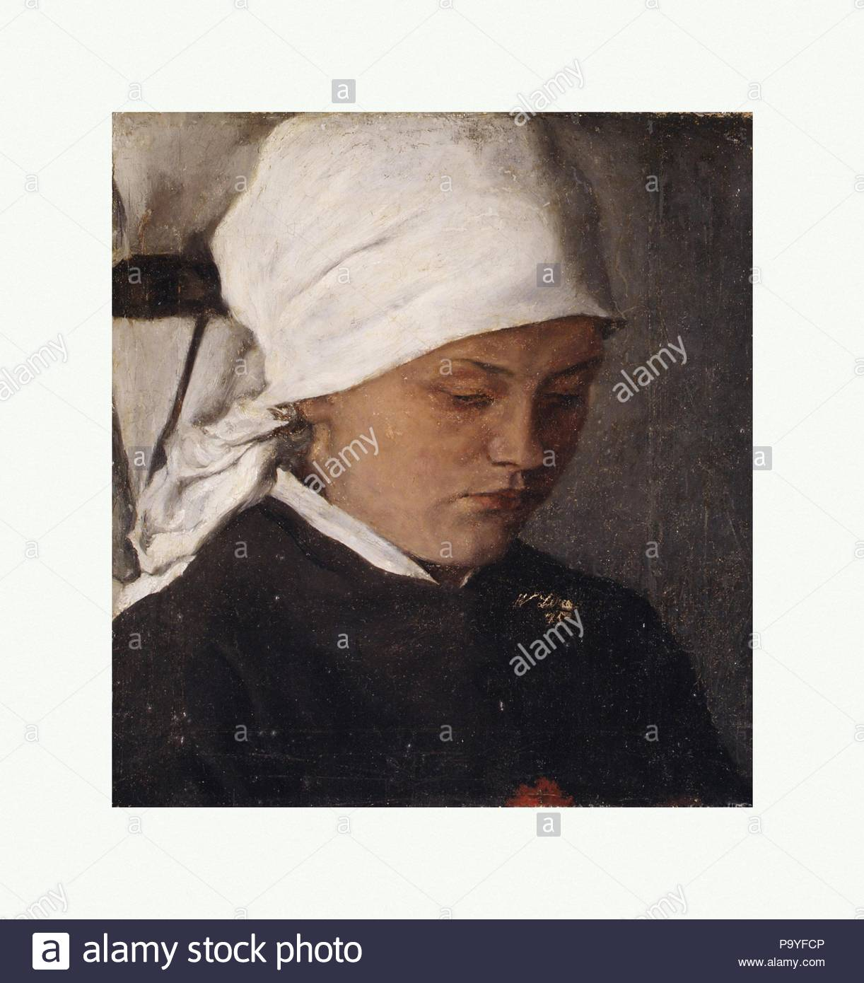 Peasant Girl with a White Headcloth, 1885, Oil on canvas, 9 7/8 x 9 1/8 in. (25.1 x 23.2 cm), Paintings, Wilhelm Leibl (German, Cologne 1844–1900 Würzburg). - Stock Image