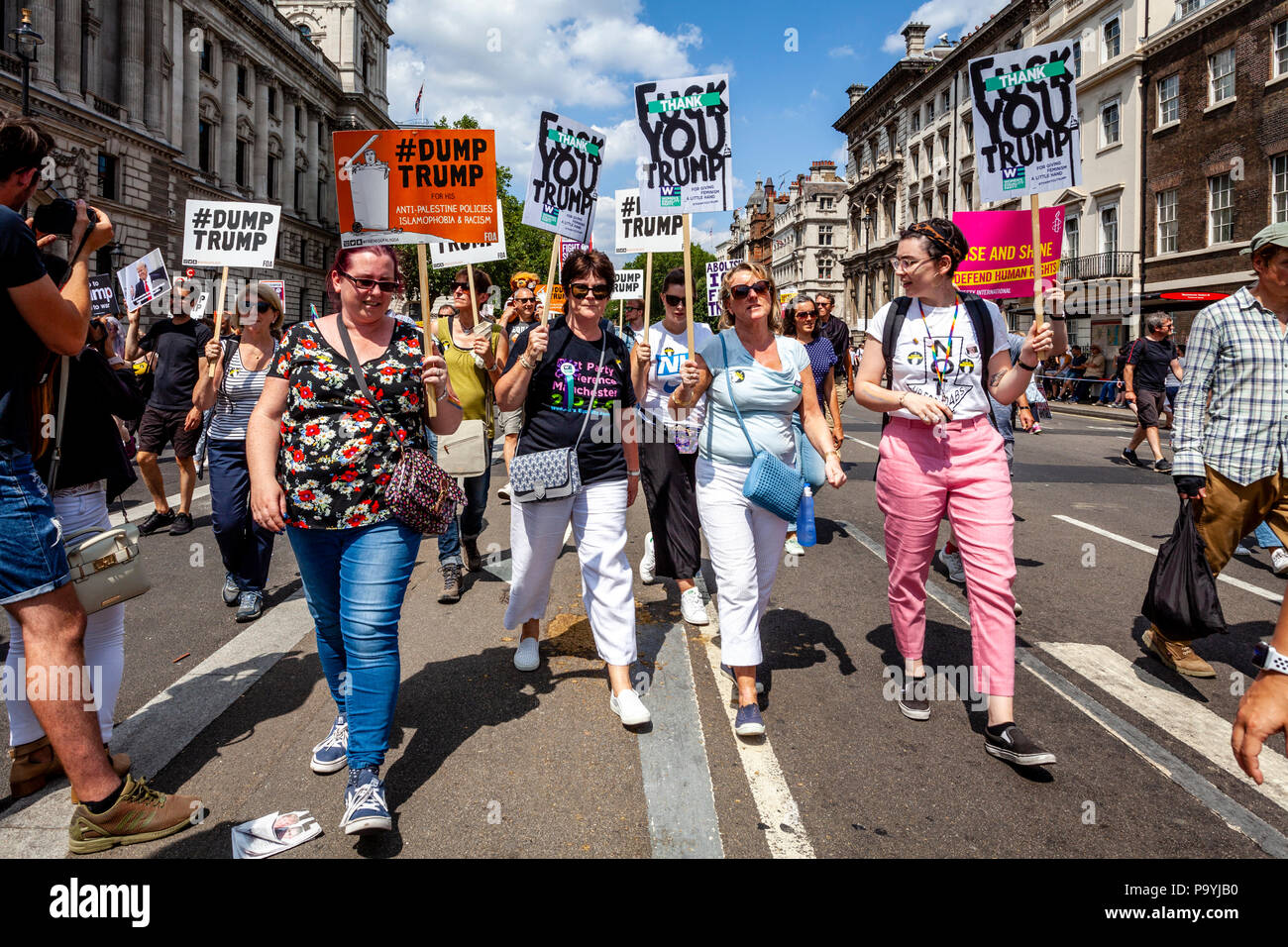 Anti Trump Protestors March Down Whitehall In Protest At The Visit To The UK of US President Donald Trump, London, England - Stock Image
