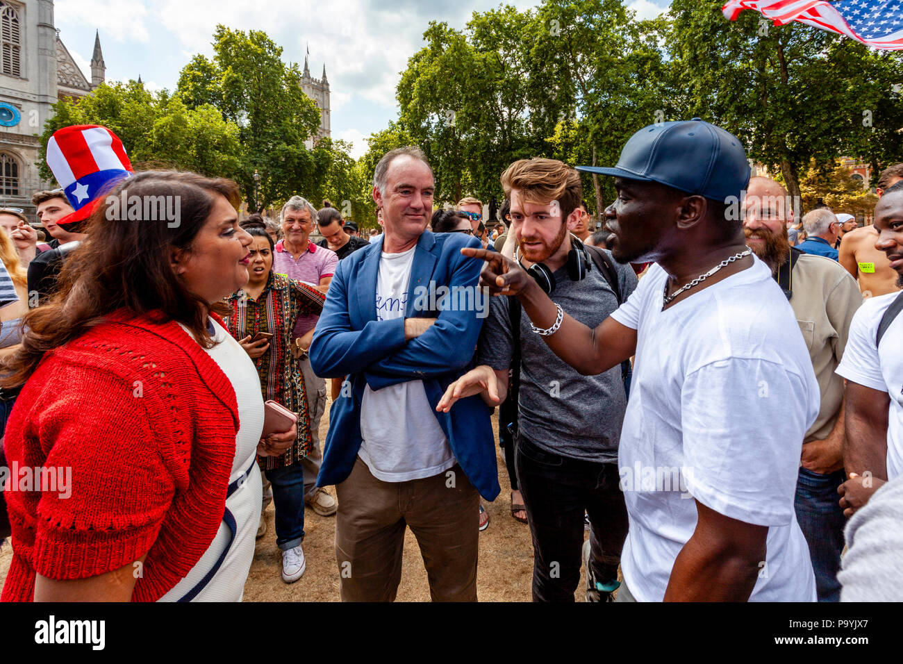 People Arguing In Parliament Square During An Anti Trump Protest, London, England - Stock Image