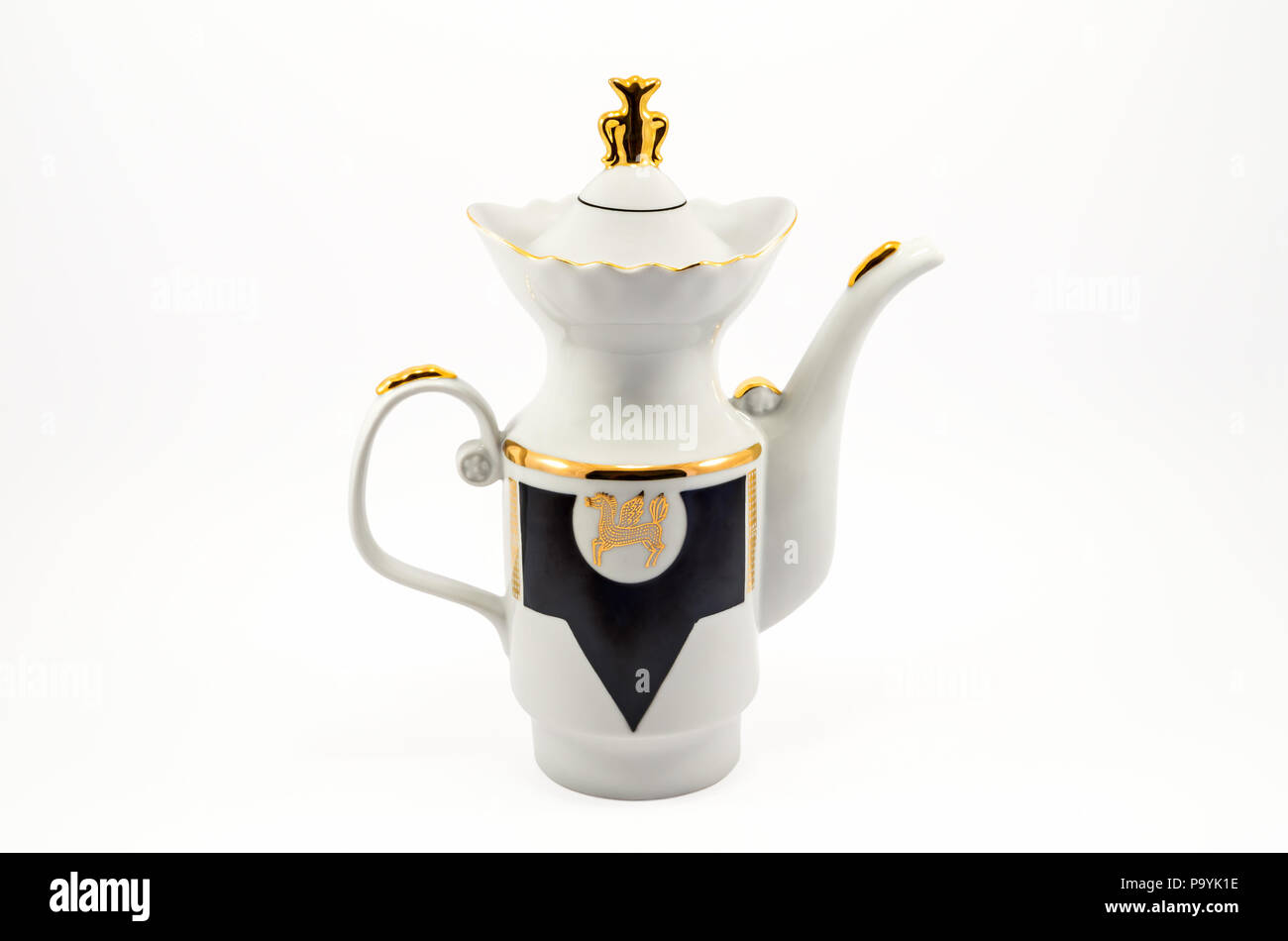 Old-fashioned porcelain coffee pot isolated on white background - Stock Image