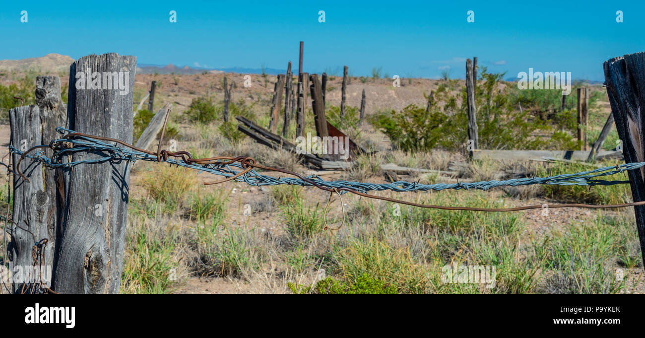 Barbed Wire at La Harmonia Store in the Castolon Historic District in Big Bend National Park Stock Photo