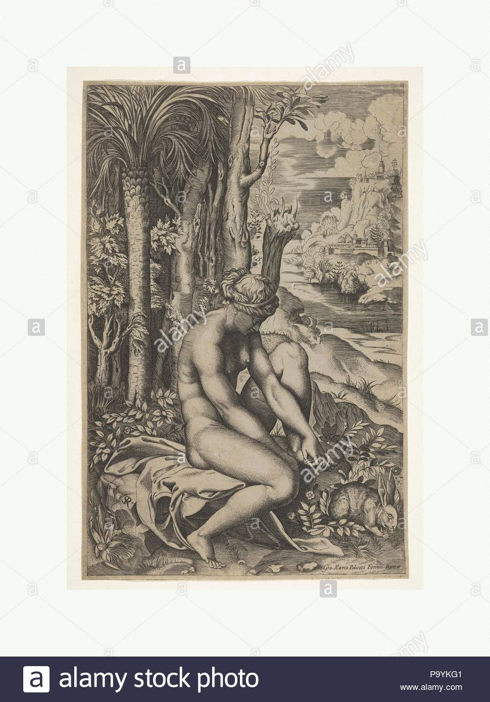 Venus removing a thorn from her left foot while seated on a cloth beside trees and foliage, a hare eating grass before her, ca. 1516, Engraving, Sheet (Trimmed): 10 1/2 × 6 7/8 in. (26.7 × 17.5 cm), Prints, Marco Dente (Italian, Ravenna, active by 1515–died 1527 Rome), After Raphael (Raffaello Sanzio or Santi) (Italian, Urbino 1483–1520 Rome). - Stock Image