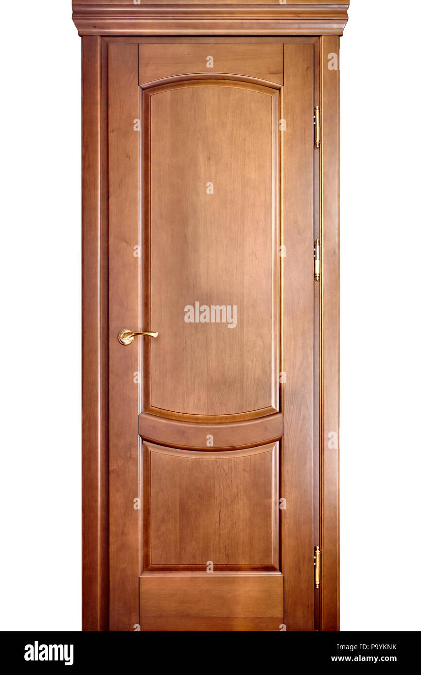 Wooden Interior Door Made Of Maple Wood With Brass Handle With Geometric  Ornament Isolated On White Background