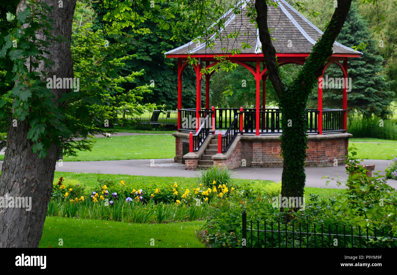 Bandstand in The Walks, Historic 18th-century park with trails. Kings Lynn, Norfolk, England, UK - Stock Image