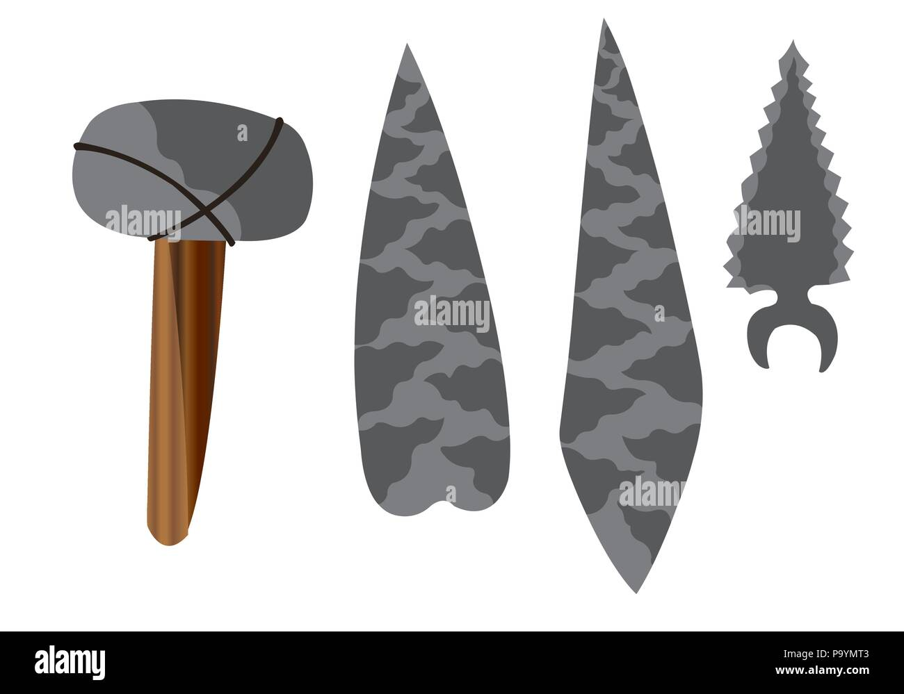 a wide array of stone age tools - Stock Image