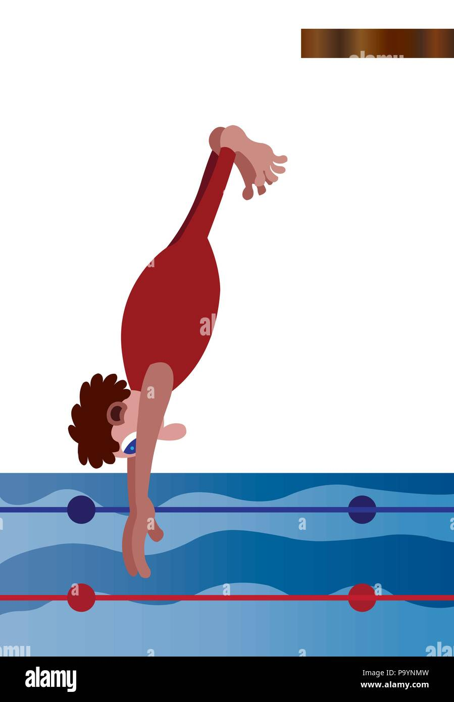 a professional diver plunging into the water - Stock Vector