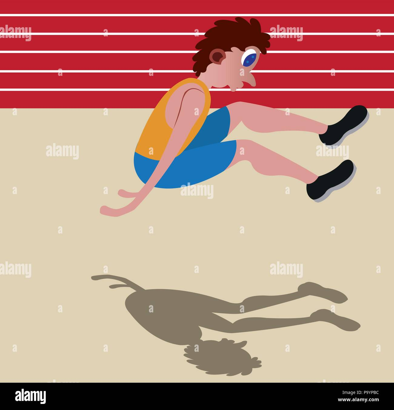 A long jumper about to hit the ground - Stock Vector