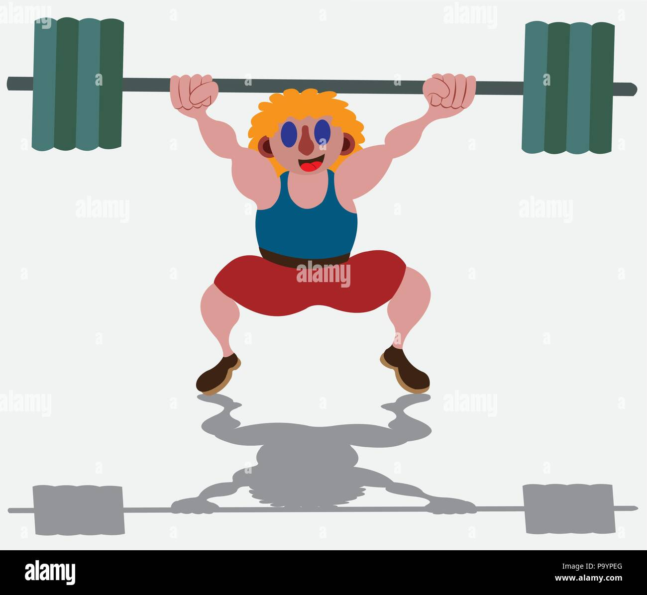 a power lifter tries to lift a heavy load - Stock Vector