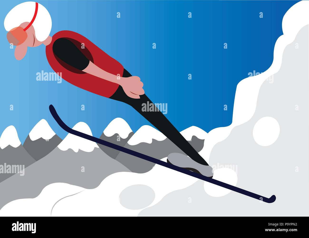 a ski jumper does a stunt on a ski resort - Stock Vector