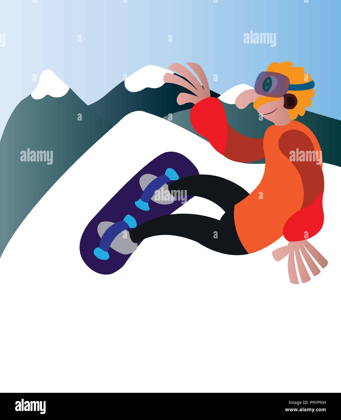 a snowboarder having a fun time outdoors - Stock Vector