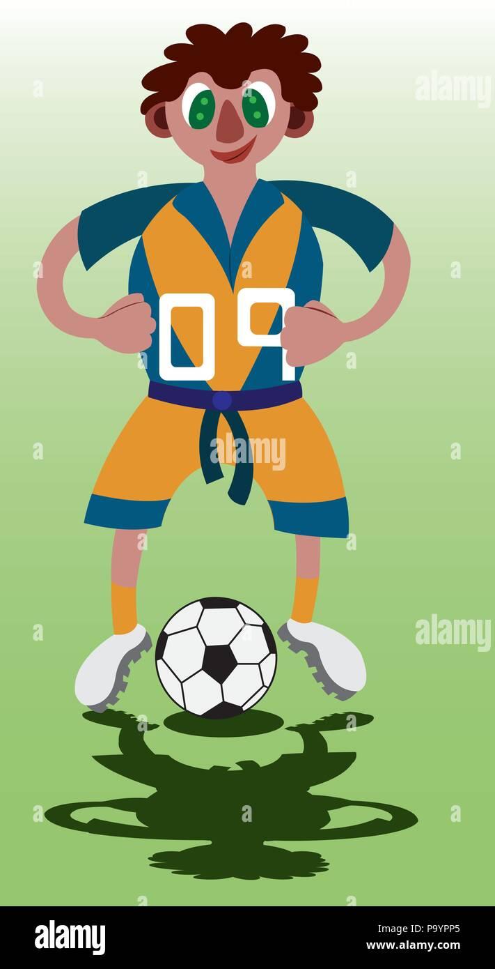 a top scoring footballer stands next to his ball - Stock Vector