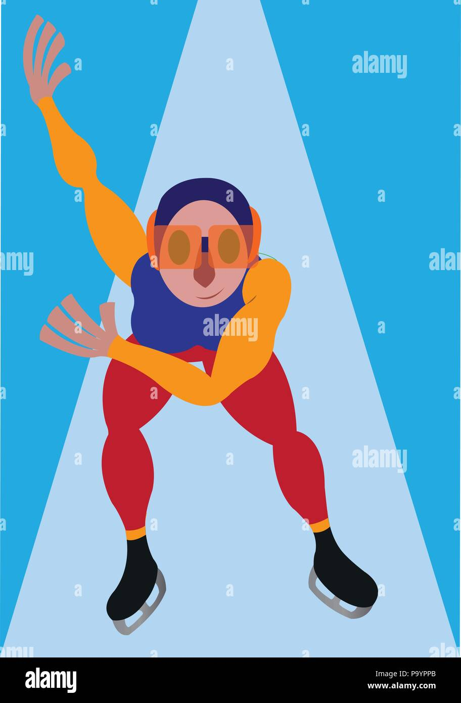 a speed skater on the move in an Olympic Game, - Stock Vector