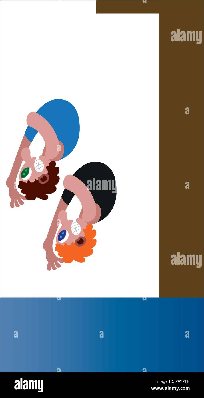two athletes diving in a synchronized manner - Stock Vector