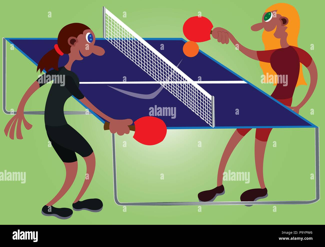 two table tennis champions challenge one another - Stock Vector