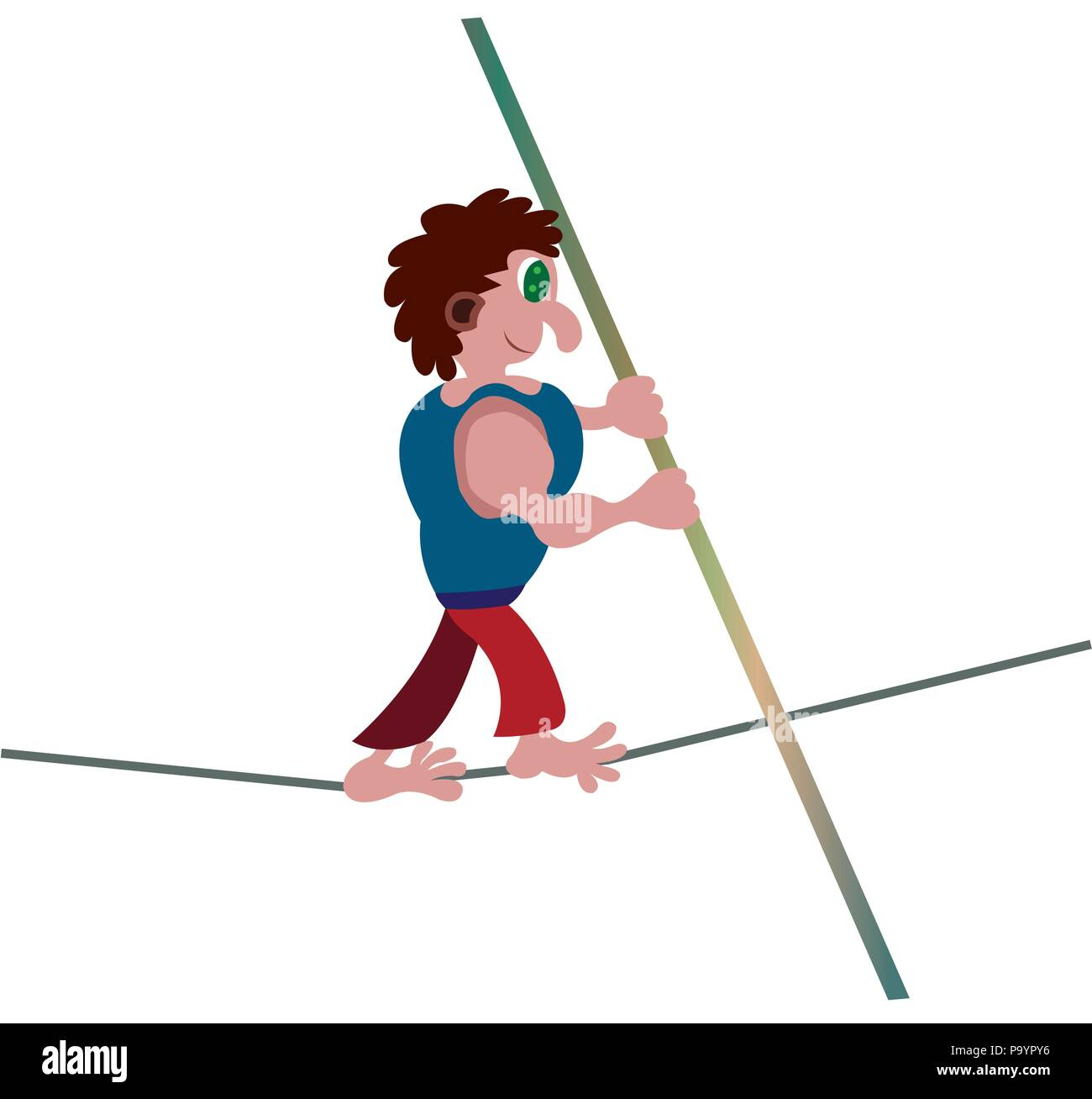 a performer walks barefoot across a tightrope - Stock Vector