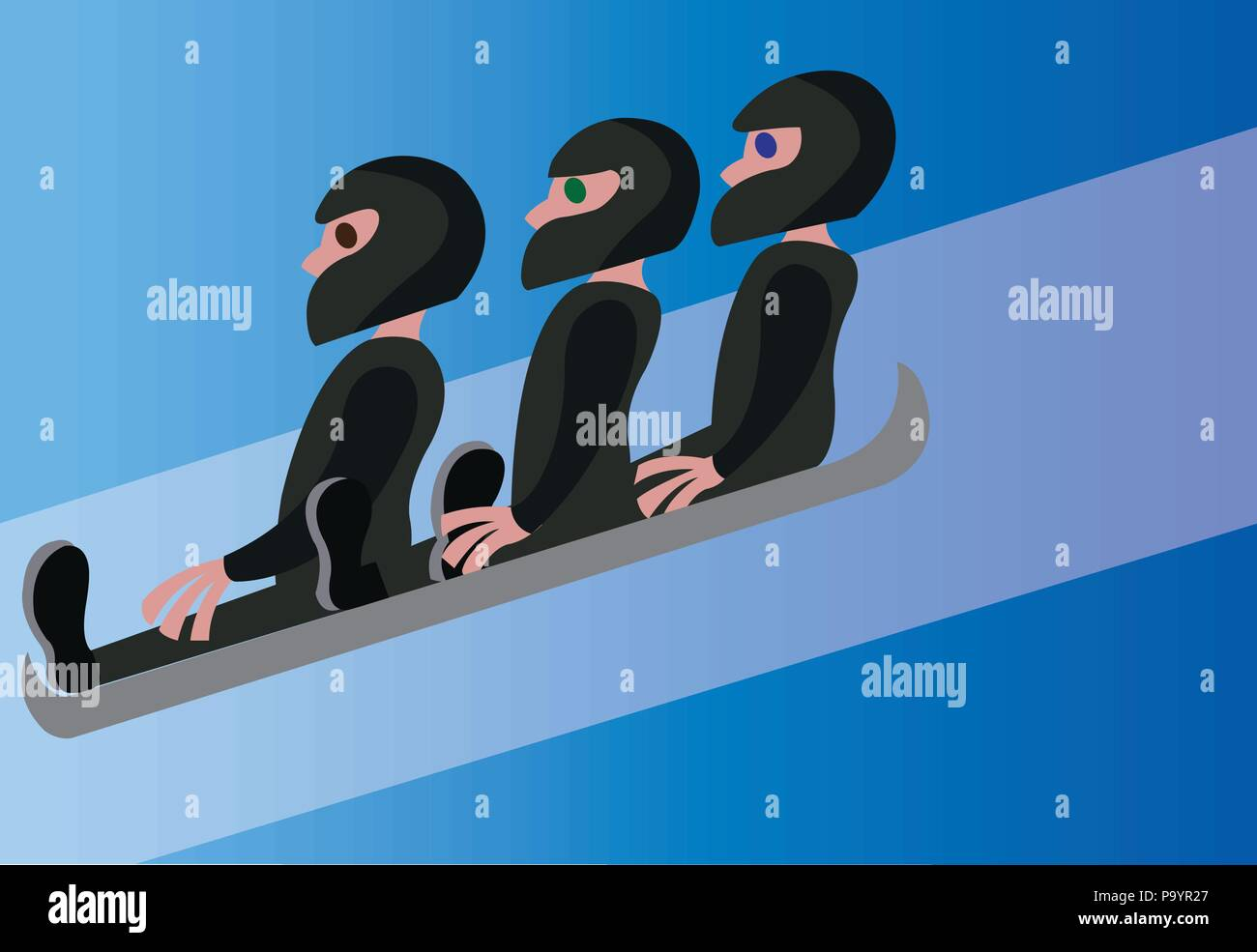 three wok racers slide down the ice - Stock Vector