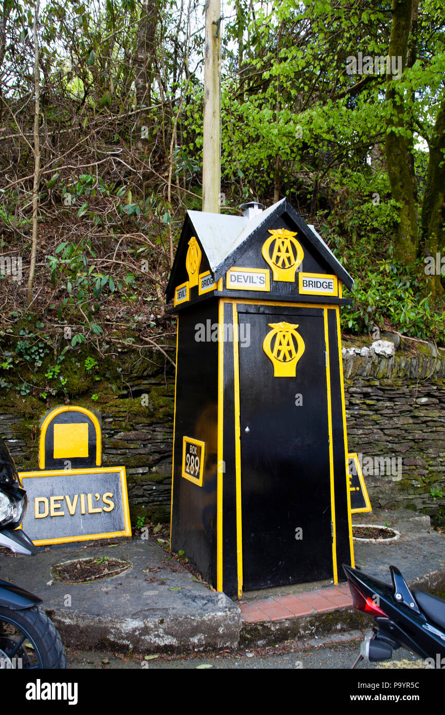 Traditional Automobile Association all box for emergency breakdowns Devil's Bridge, Wales, UK Stock Photo