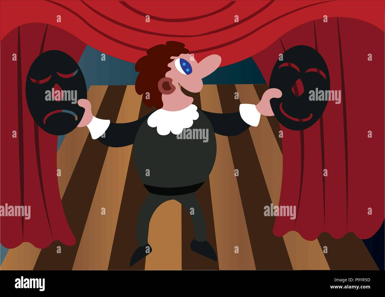 a stage actor displays comedy and tragedy Masks, - Stock Image