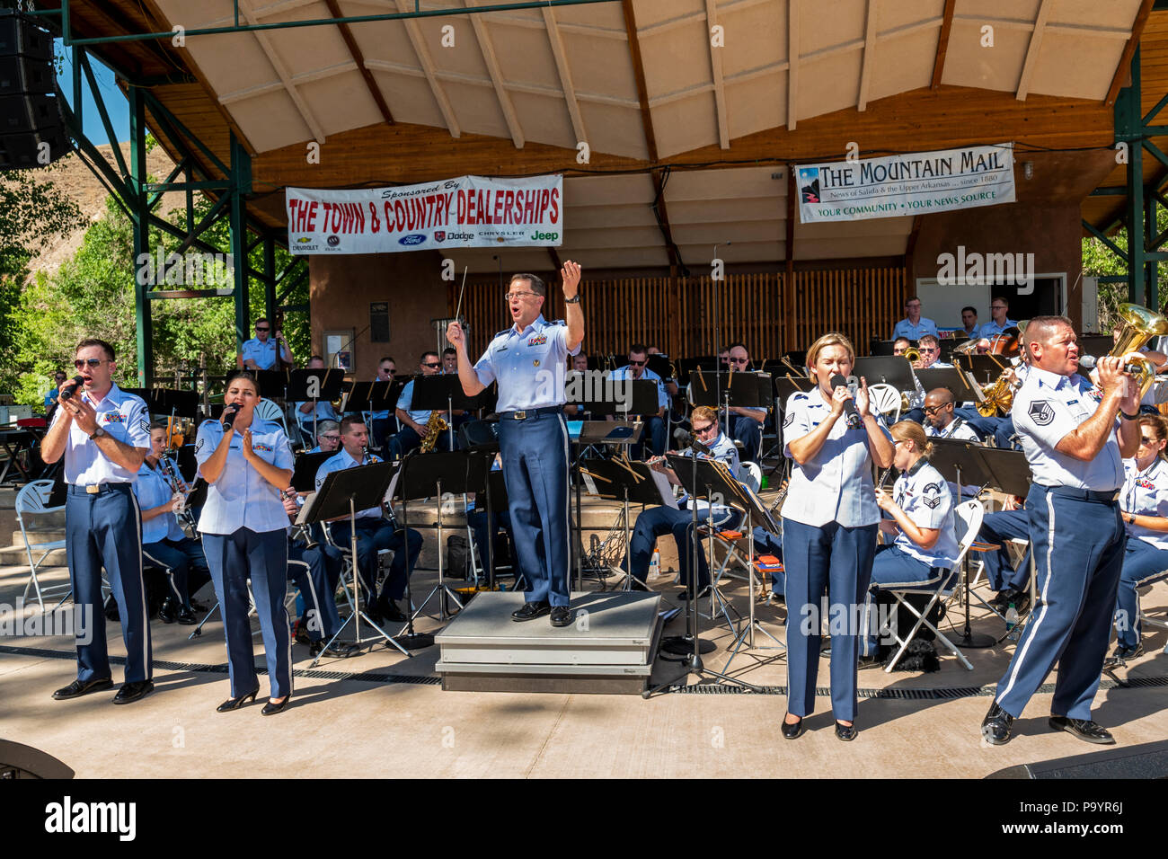 United States Air Force Brass Band plays a Fourth of July Concert in the Riverside Park band stand, Salida, Colorado, USA - Stock Image