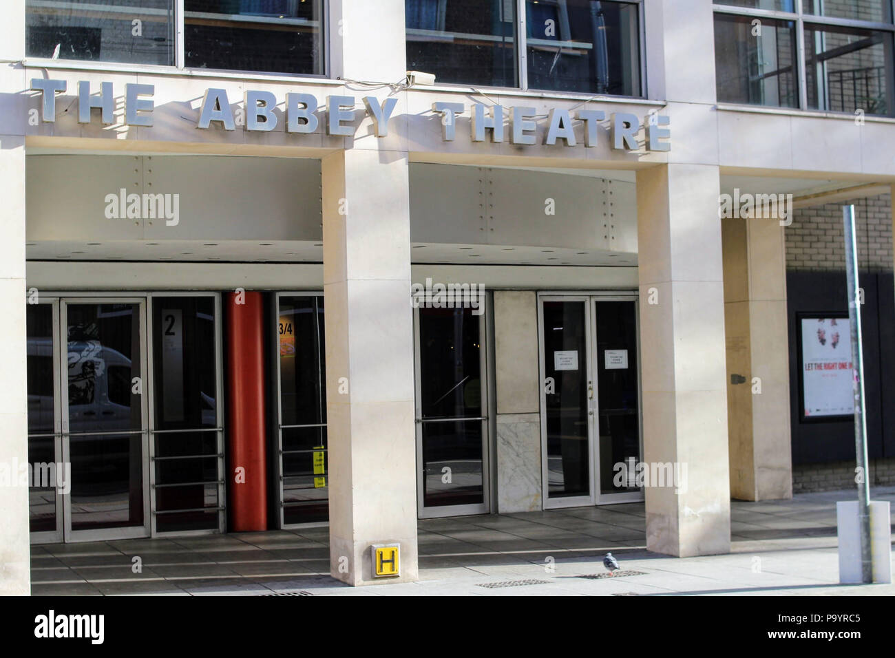 The entrance to The Abbey Theatre in Dublin Ireland. The theatre known as The National Theatre of Ireland opened in 1904. - Stock Image