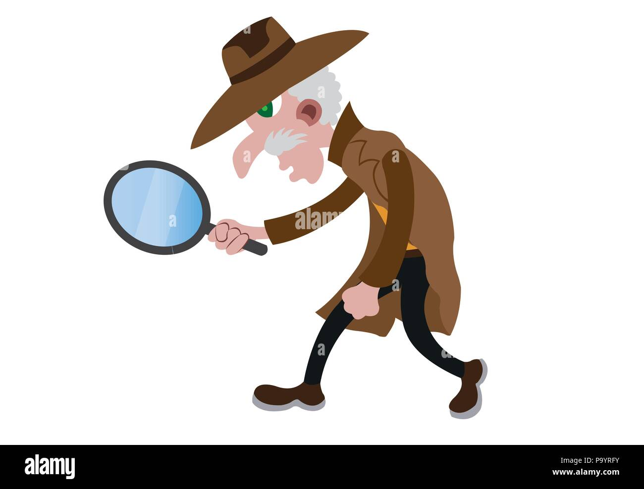 a detective tracks possible criminal footprints - Stock Image