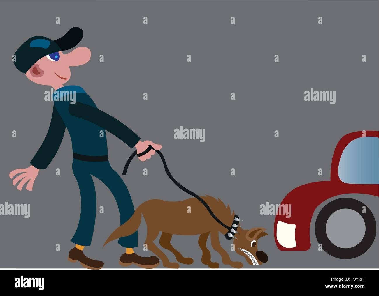 A park security guard checks on customers vehicles using a snifer dog - Stock Image