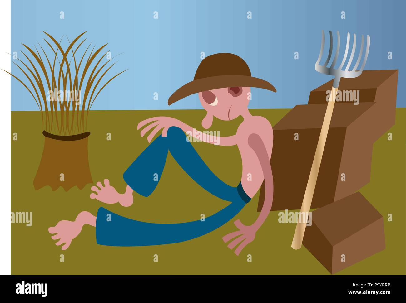 A plantation farmer resting out in the fields - Stock Vector