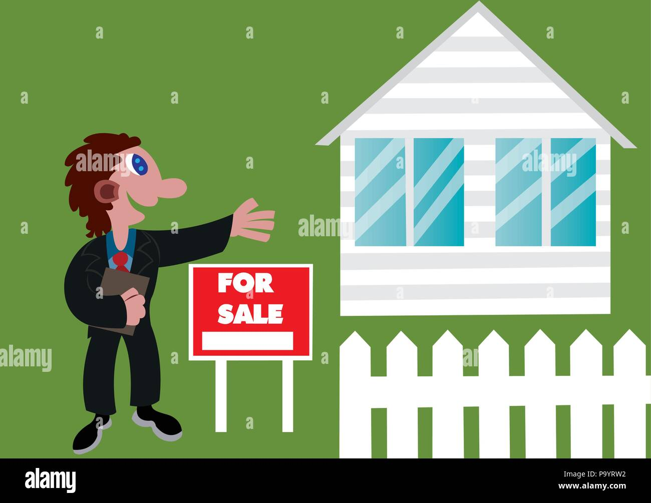 a real estate agent advertising a foreclosed home, - Stock Image