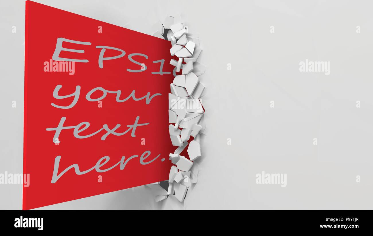 vector illustration of exploding wall and red business card. with free area on red card - Stock Vector