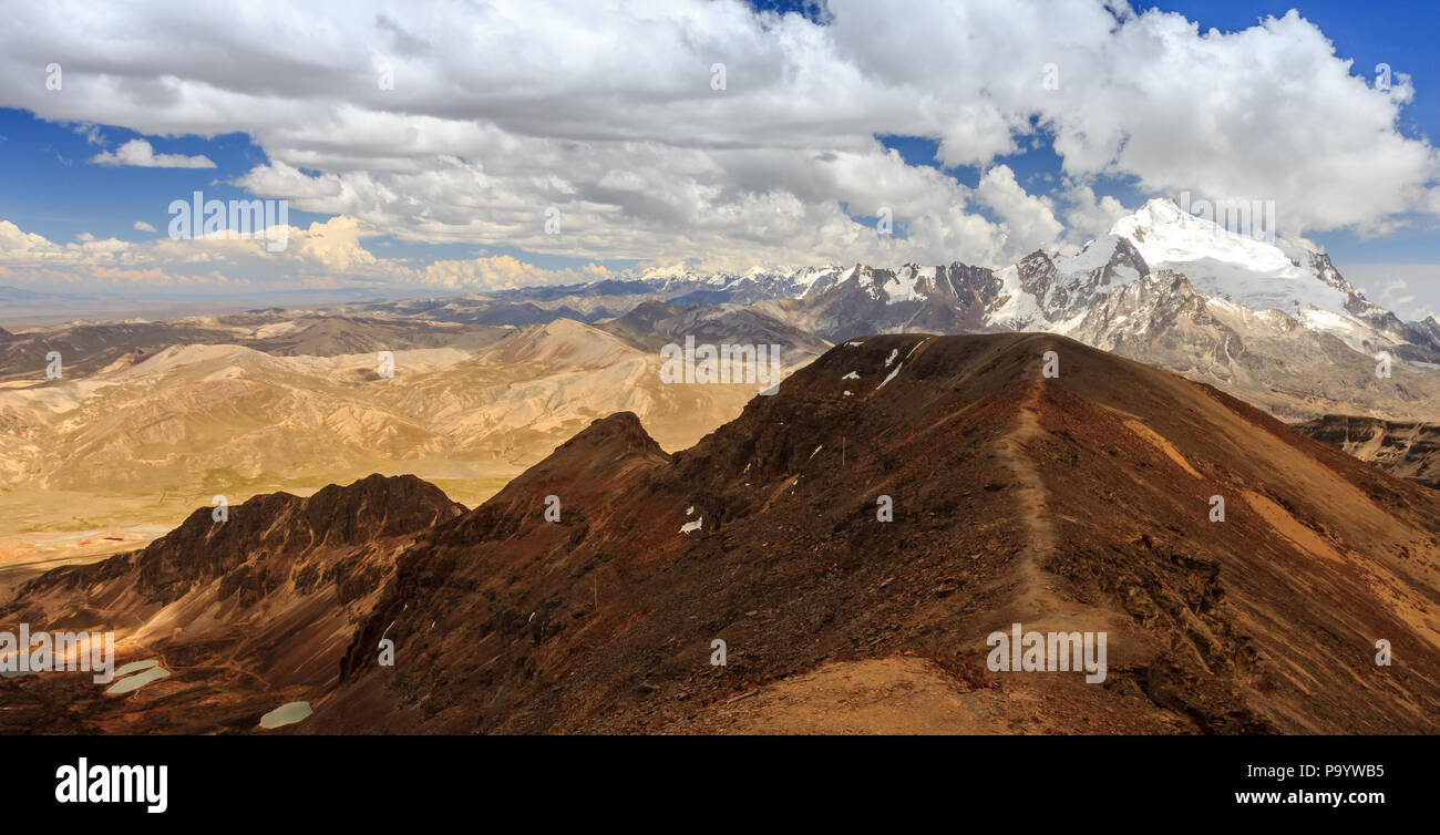 Atop chacaltaya mountain looking at the cordillera real - Stock Image