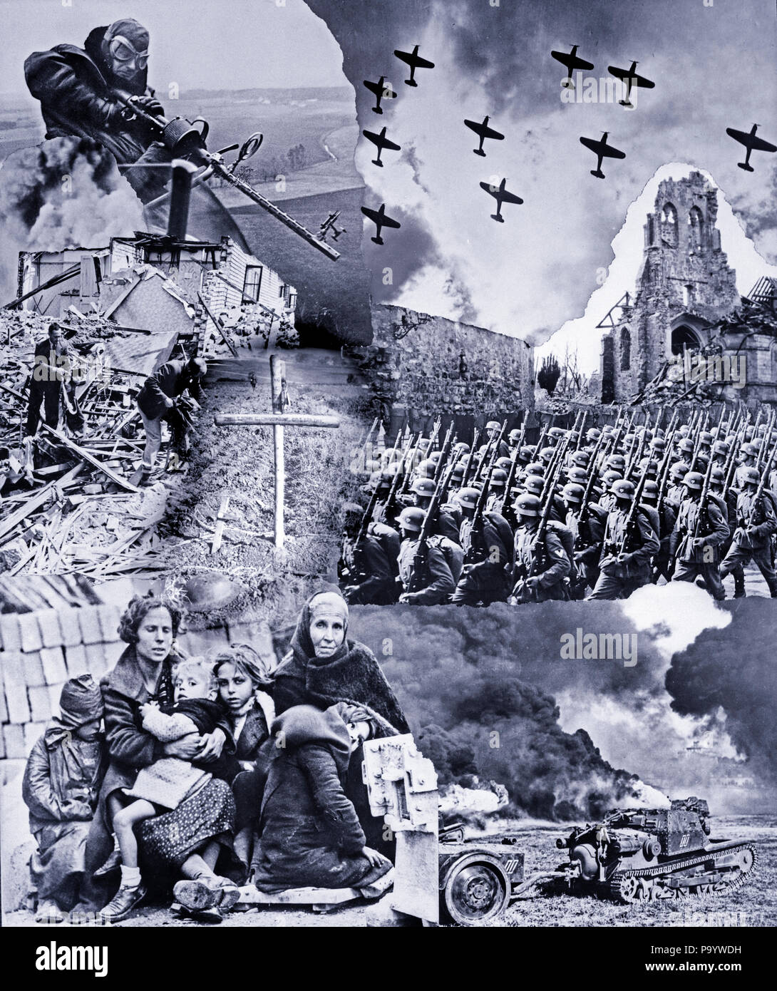 1930s 1940s MONTAGE WWII IMAGES MACHINE GUN ARTILLERY AIRPLANES NAZI TROOPS MARCHING REFUGEES WOMEN CHILDREN DEATH DESTRUCTION  - q74332 CPC001 HARS GROWN-UP MALES RISK TRANSPORTATION B&W SADNESS DISASTER AIRPLANES DEATH DESTRUCTION COMPOSITE EXCITEMENT WORLD WARS WAR PLANE WORLD WAR WORLD WAR TWO WAR PLANES WORLD WAR II POLITICS TROOPS UNIFORMS MACHINE GUN ESCAPE MOBILITY NAZI VICTIMS WORLD WAR 2 BOMBERS IMAGES CONFLICTING DEVASTATION FIREARM GRAVE OPPRESSION OPPRESSORS REFUGEES RUINS WEHRMACHT ARTILLERY BATTLING BLACK AND WHITE - Stock Image