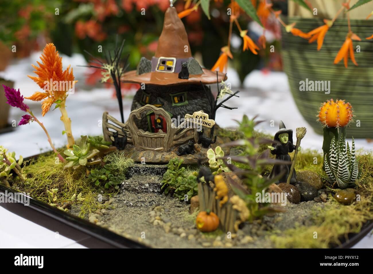 A halloween themed fairy garden, on display at the Lane County Fair ...