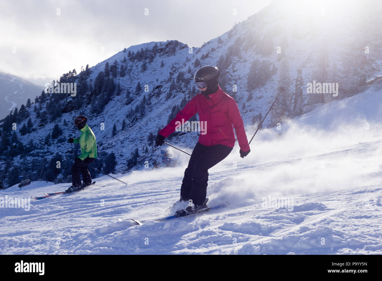 Skiing in the alps - Stock Image