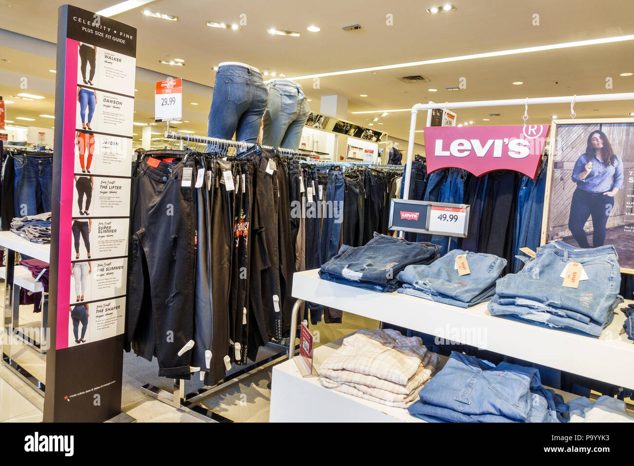 0e8fa09e2 Orlando Florida The Mall at Millenia shopping Macy s department store  women s clothing brand Levi s jeans display