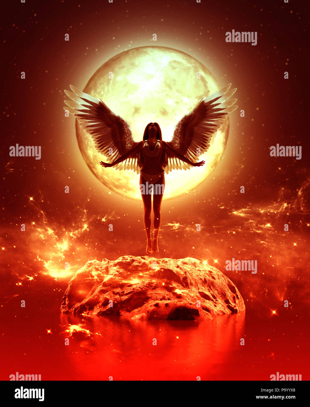 3d illustration of an Angel in heaven land,Mixed media for book illustration or book cover - Stock Image