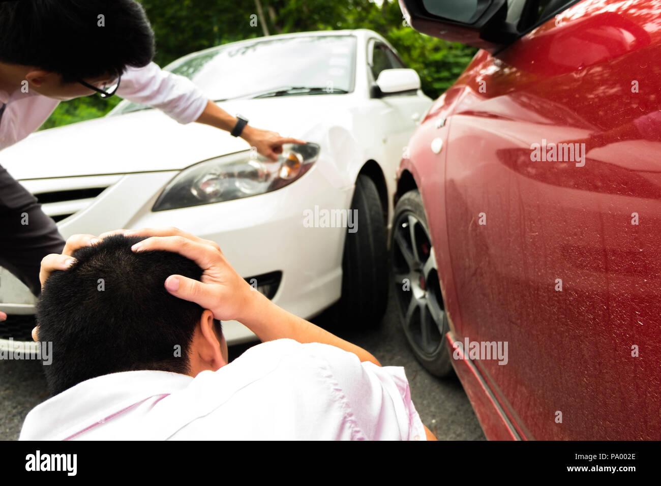 Car crash on the road ,wait insurance claim   Insurance claim