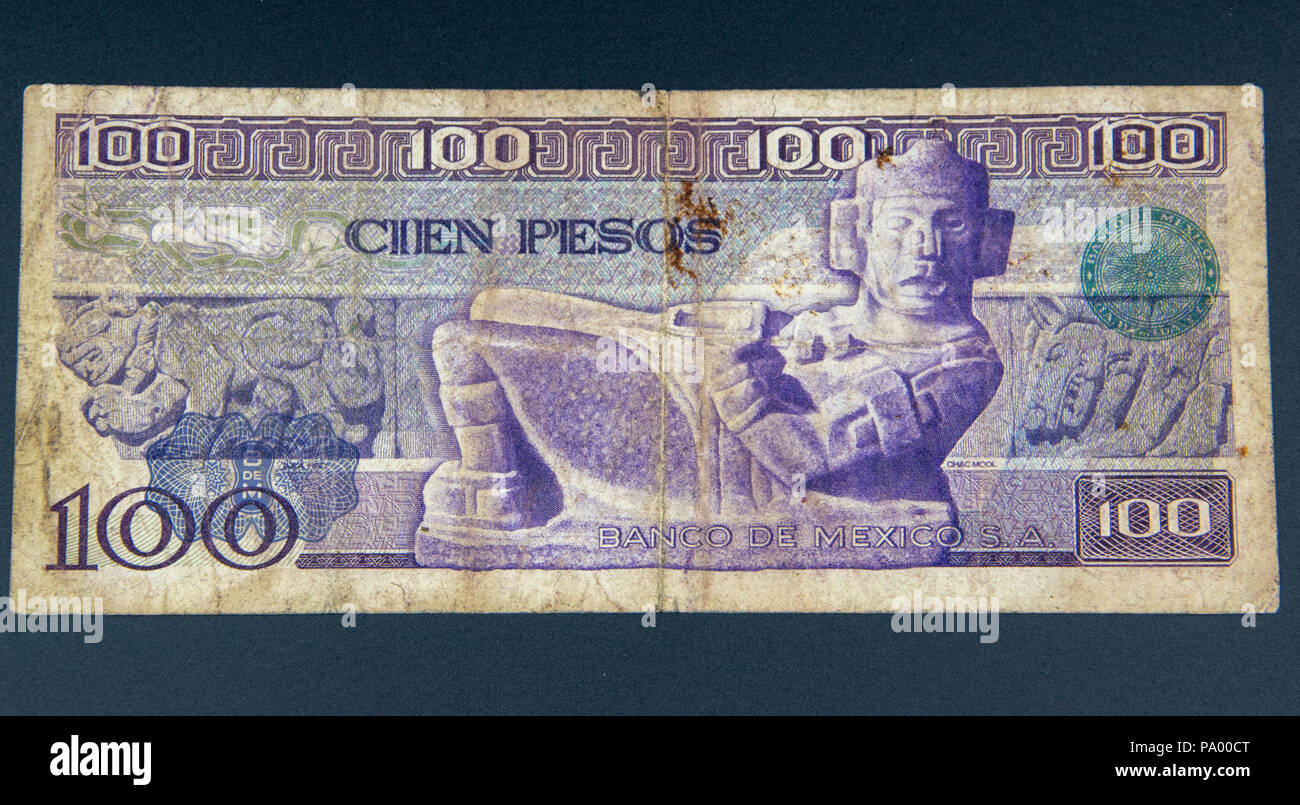 1978 100 Pesos note from the Bank of Mexico. - Stock Image