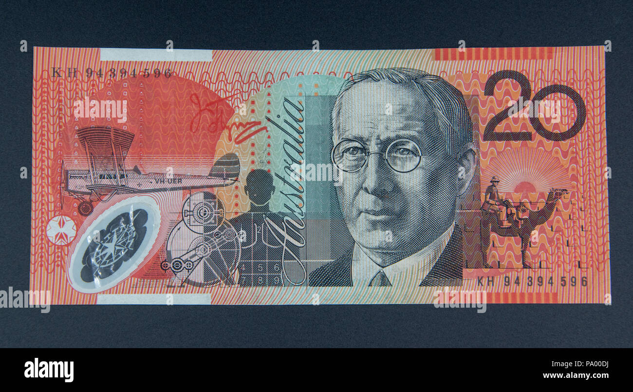 20 Australian Dollars with Mary Reibey and John Flynn designed by Garry Emery in October 1994. - Stock Image