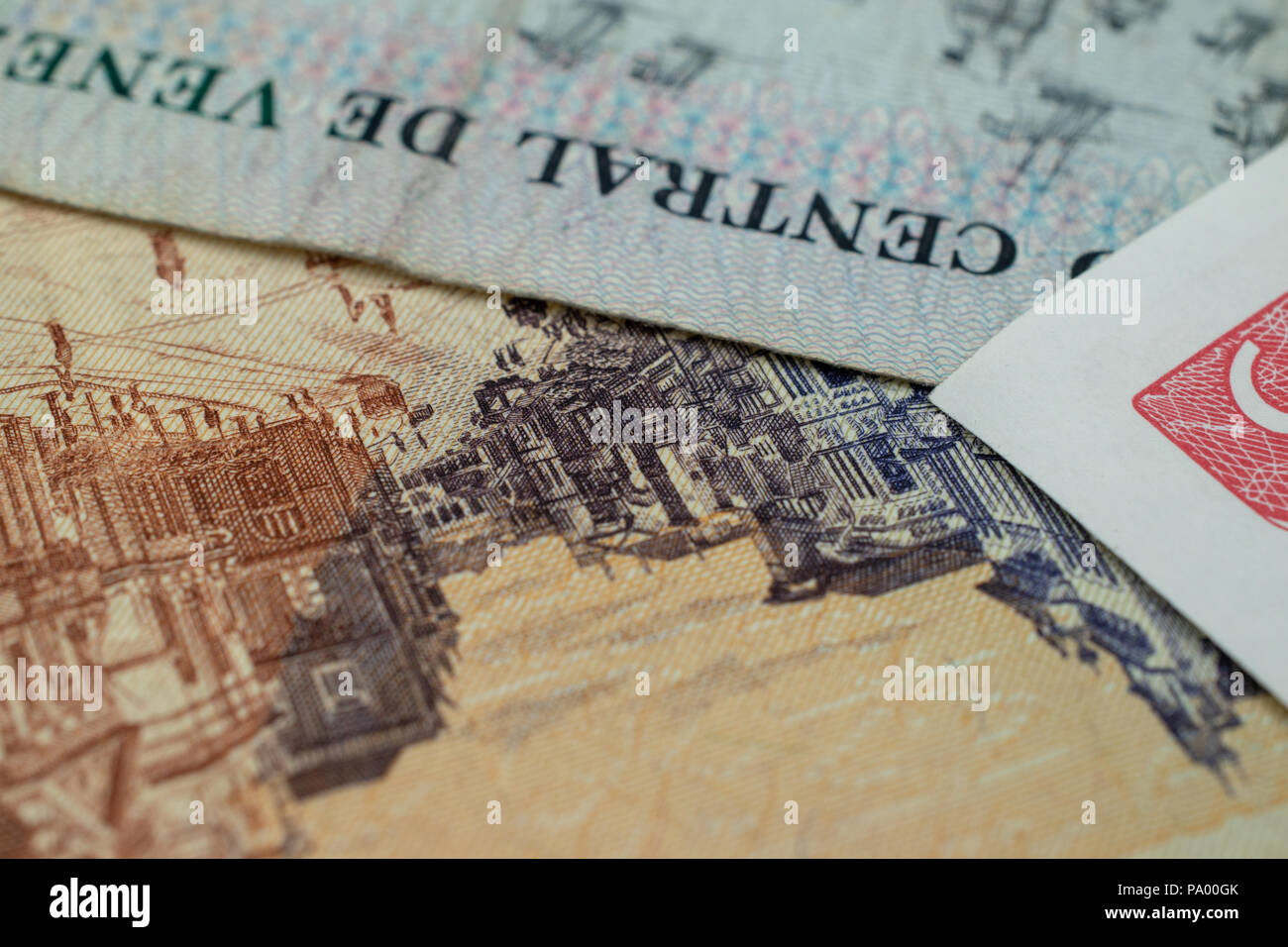Bank notes from around the world. - Stock Image